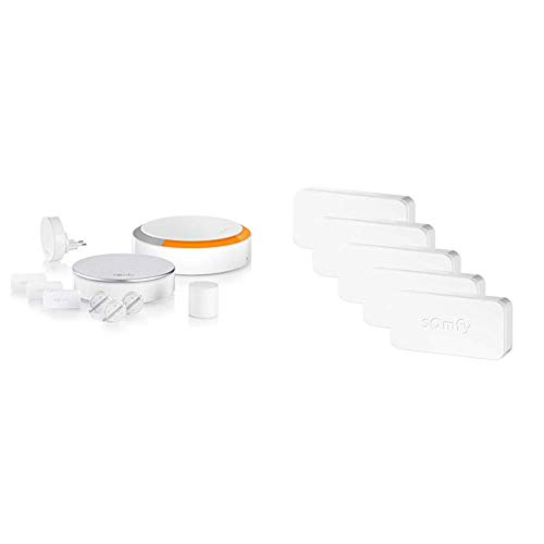 Somfy 1875230 - Home Alarm Plus | Alarme Maison sans Fil connectée avec sirène extérieure & Pack de 5 IntelliTAG | Détecteurs Auto-protégés de Vibration et d'ouverture pour intérieur ou extérieur
