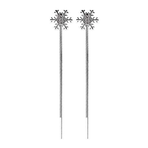N/A Pendientes de Borla Largos de Copo de Nieve Brillante Pendientes de Gota de declaración de Metal Plateado de Moda Plata