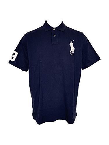 Polo Ralph Lauren Mens Big Pony Mesh Polo Shirt Short Sleeve Custom Slim Fit Polos (X-Large, Navy/White)