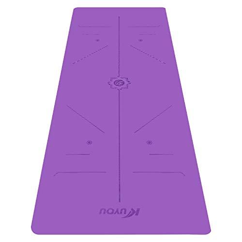 KUYOU Gymnastikmatte, PU Yogamatte Yogamatte Gepolstert & rutschfest für Fitness Pilates & Gymnastik mit Tragegurt - Maße
