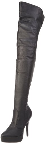 Pleaser Women's INDULGE-3011/B/LE, Black Leather, 9 M US