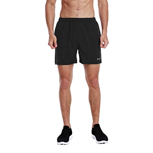 EZRUN Men's 5 Inches Running Workout Shorts Quick Dry Lightweight Athletic Shorts with Liner Zipper Pockets,Black,S
