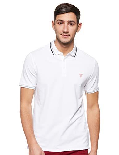 Guess Grady SS Camisa de Polo, Bianco, S para Hombre