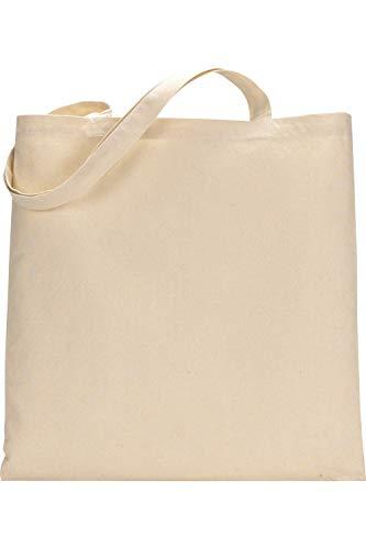 Paquete de 10 bolsas de compras de algodón premium – ecológico reutilizable bolsa de compras para la vida con asas largas (natural)