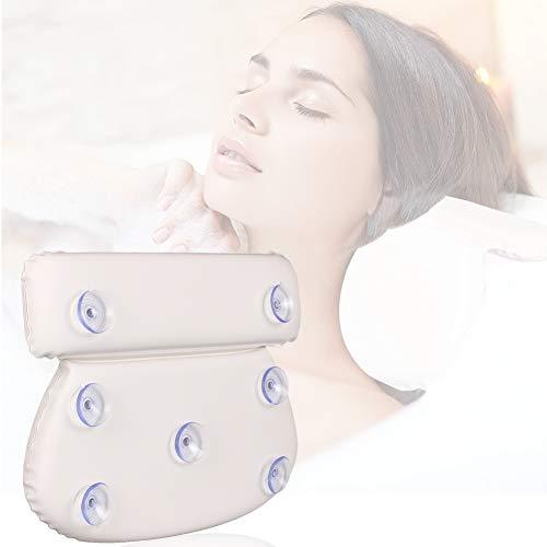 Geila Oreiller de bain imperméable pour spa - Antidérapant - Rembourré - Confortable - Pour la tête, le cou et le dos - Avec 7 ventouses - Blanc