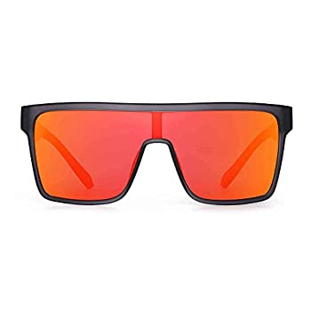 GLINDAR Polarized Shield Sunglasses for Men Square Flat Top Sports Glasses Grey Frame / Orange Lens
