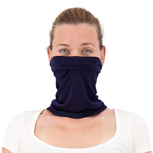 Twisted Neck Gaiter Mask for Men and Women - Cooling Neck Gaiter Made in USA - Cooling Neck Gators Face Mask for Women & Men | Navy Blue Neck Gaiter [2-Pack]