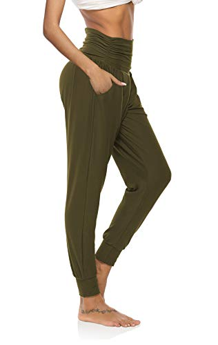 DIBAOLONG Womens Yoga Sweatpants Loose Workout Joggers Pants Comfy Lounge Pants with Pockets Army Green M