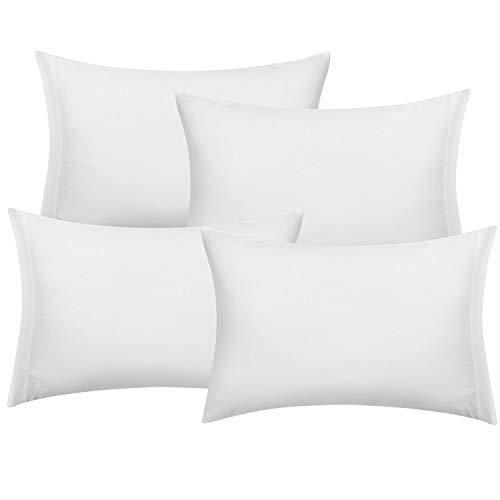 Hansleep Lot de 4 Taies d'oreiller 50 x 75 cm - Blanc Housse Oreiller Rectangulaire Anti-acariens & Hypoallergénique, Protège Oreiller en Microfibre Brossée