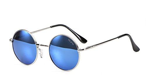 Miuno® Sonnenbrille mit runden Gläsern UV400 Herren Damen mit Etui Nickelbrille Federscharnier 8088 (Gestell:Silber/Glässer:hellblauverspiegelt)