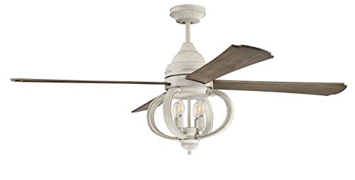 """Craftmade AUG60CW4 Augusta Dual Mount 60"""" Ceiling Fan with LED Light and Remote Control, 4 Blades, Cottage White"""