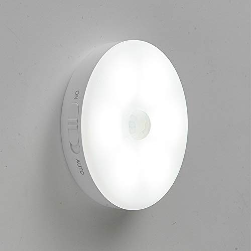 Luz de noche LED Lámpara de pared recargable por USB con sensor de movimiento, iluminación con batería de litio para armario, dormitorio,armario de pared,pasillo,etc.(1 luz blanca)