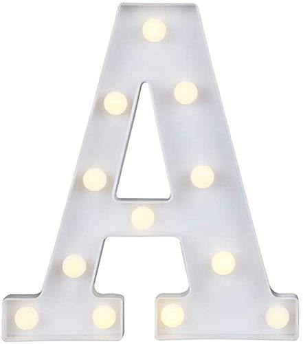 Gspirit LED Marquesina Carta Luces 26 Alfabeto Encender Firmar Navidad Luz de noche Lámpara para Boda Casa Fiesta Bar Decoración (A)