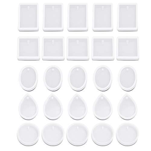 AIFUDA - Stampi per gioielli in resina con 5 stili, con foro per appendere, per gioielli, portachiavi, ciondoli, fai da te in resina, 25 pezzi