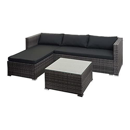 Mendler Poly-Rattan Garnitur HWC-F57, Balkon-/Garten-/Lounge-Set Sofa Sitzgruppe - grau, Kissen dunkelgrau ohne Deko-Kissen