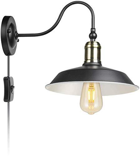 Lámparas de pared industriales, Vintage Plug industrial en el muro de luz con interruptor, cuello de cisne Lámpara de pared ajustable Pantalla de lámpara de metal, de 1,8 m de cable, lámpara de pared