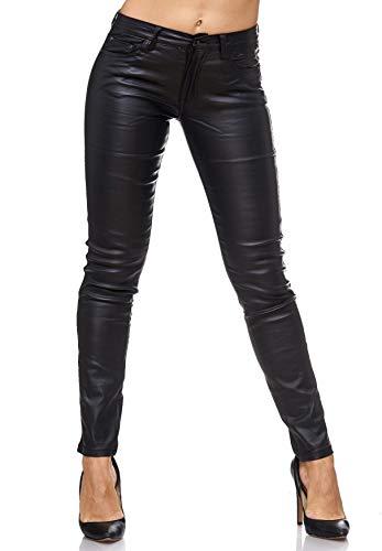 EGOMAXX Damen Treggings Leder Optik Biker Stretch Hose Faux Hüfthose, Farben:Schwarz, Größe:40 / L