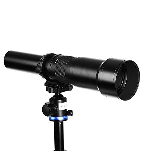 Lente de teleobjetivo Manual 650-1300mm F8-16, Lente de cámara de Marco Completo Ultra teleobjetivo para Casi Todas Las cámaras DSLR para Montaje en T(Negro)