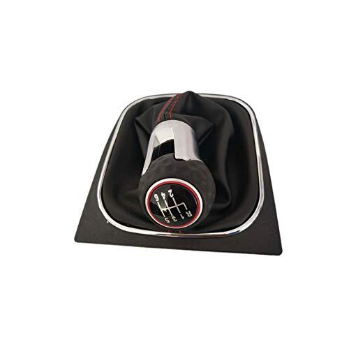 Geschwindigkeits-Auto-Gang-Stock-Niveau-Schaltknauf des HDCF-Autos 6 mit ledernem Stiefel für Golf 6 A6 MK6 für GTI GTD R20 2009 2010 2011 2013