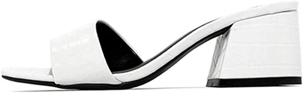 Women's Heeled Sandals Slip On Square Toe Block Heel Comfortable Casual Slide