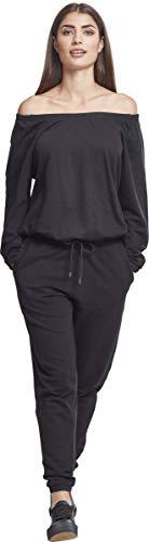 Urban Classics Damen Jumpsuit Ladies Cold Shoulder Terry, Schwarz (Black 00007) - 3