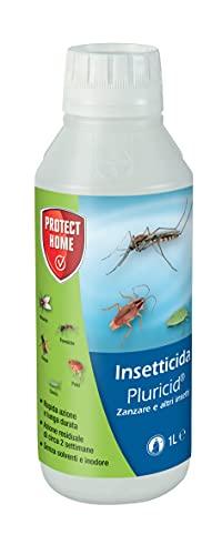 PROTECT HOME Pluricid Insetticida concentrato a Rapida Azione abbattente ed Effetti di Lunga Durata su zanzare, Mosche, scarafaggi, formiche, 1 Lt, 1 Litro