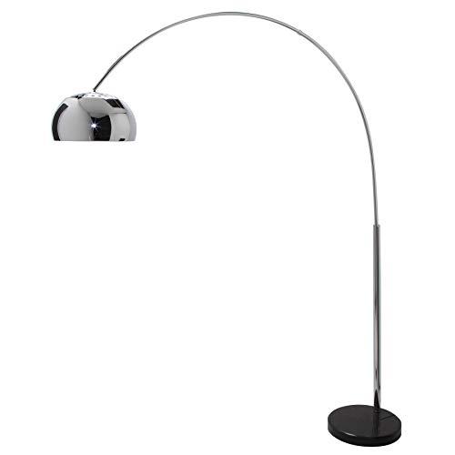 Bogenlampe LOUNGE DEAL Chrom mit Marmorfuss in schwarz ausziehbar Wohnzimmerleuchte Stehlampe Bogenleuchte Stehleuchte