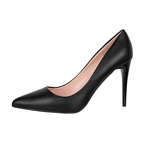 Elara Damen Pumps Spitz High Heels Stiletto Chunkyrayan B0-110 Black-38