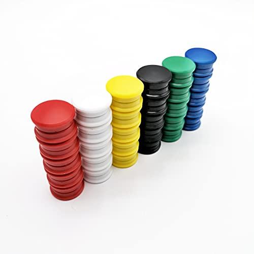 Mai - Imanes redondos de colores para pizarras magnéticas, pizarras blancas y frigoríficos, 60 unidades, 24 mm, 6 colores