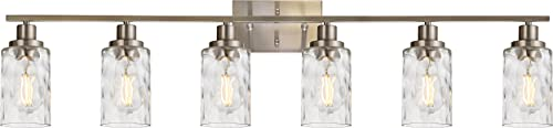 MELUCEE 6-Light Bathroom Vanity Light Brushed Nickel Finish with Clear Hammered Glass Shade, Industrial Wall Light Fixtures for Bath Mirror Bedroom Dressing Table