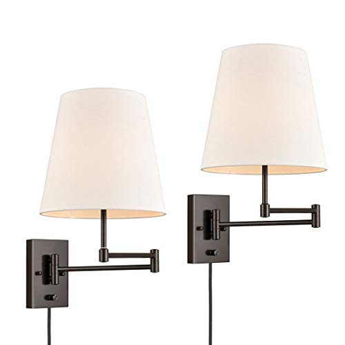 Bedroom Swing Arm Wall Lamp Bedside Wall Sconce,Plug-in/Wall Mount + Off-White Fabric Shade,Oil Rubbed Bronze Finish Set of 2