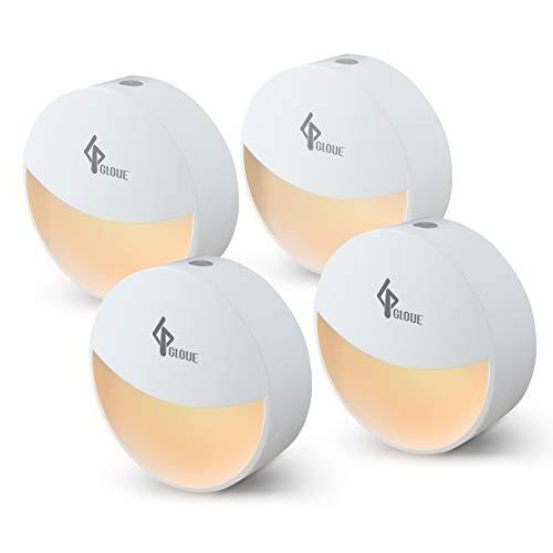 GLOUE Plug-in Night Light Smart Dusk to Dawn Sensor, Automatic Light Control Night Lamp for Bedroom, Bathroom, Kitchen, Hallway, Stairs, Compact Design, Energy Saving (Warm White, 4 Packs)