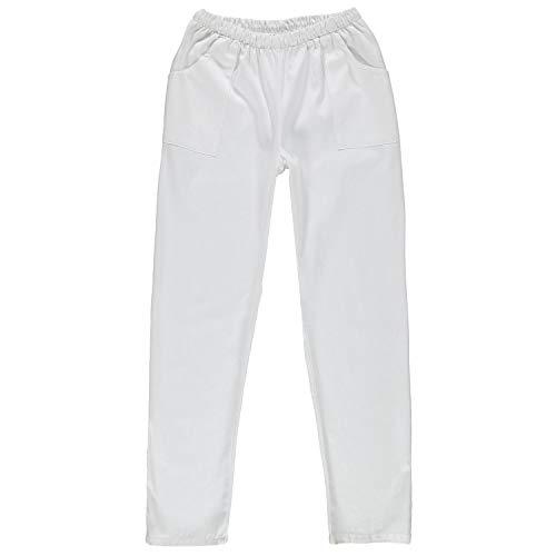 Siry Work Pantalón unisex blanco con elástico Art. Pan Max 100% algodón Made in Italy Color blanco. L