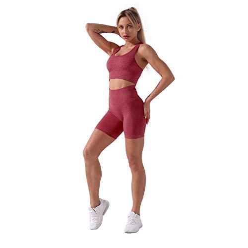 iSayhong Conjunto de 2 piezas de ropa deportiva sin costuras para mujer, sujetador deportivo, cintura alta, pantalones cortos, leggings para entrenamiento, correr, gimnasio, yoga, conjuntos