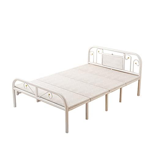 Somier Estructura de Cama Individual de Metal, Marco de Cama Plegable para Dormitorio de Invitados y habitación de Alquiler, Fácil de Instalar/Antideslizante/Duradero(Size:120x205cm,Color:Blanco)