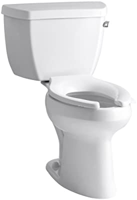 Kohler K-3493-TR-0 Highline Classic Pressure Lite Comfort Height Elongated 1.4 gpf Toilet with Right-Hand Trip Lever and Tank Cover Locks, Less Seat, White
