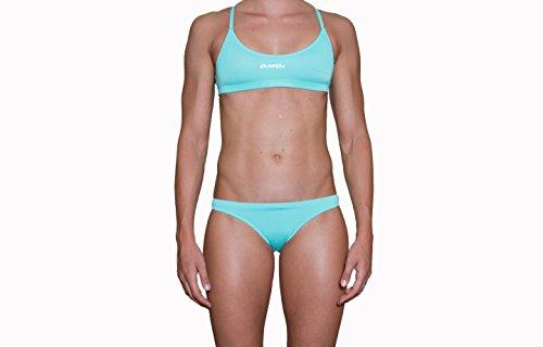 IMPERA Costume da Allenamento Nuoto, Bikini - Due Pezzi da Donna, Resistente al Cloro, possibilità di spaiare Taglia del Top con Taglia dello Slip - Colore Acquamarina (46)
