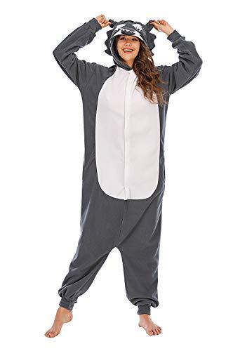 HUTUTU Unisex Pyjamas Cosplay Kostüme OneSize Sleepsuit Schlafanzug Jumpsuit Herren Damen Tieroutfit Tierkostüme,LTY33-2-grau,S