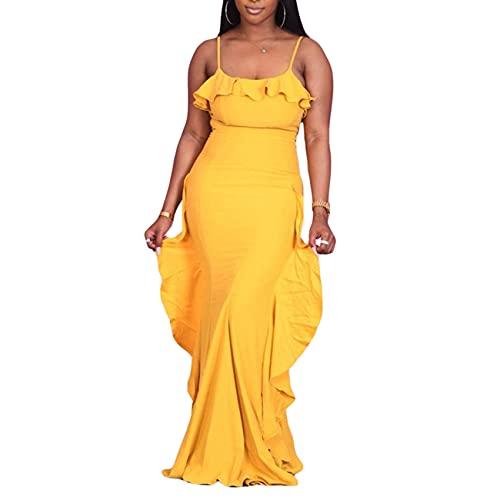 Moda para Mujer Color sólido Vestido con Volantes Vestido sin Mangas Vestido de Noche de Mujer con Envoltura Ajustada Vestido de Mujer