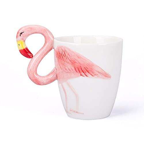 XINGYU Taza De Flamenco Taza De Café De Cerámica Taza De Porcelana Suave Taza De Té Hecha a Mano Taza De Café con Asa 3D Animal Regalo De Cumpleaños De Navidad