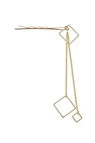 (ソウビエン) ヘアピン アメピン 2連 四角 スクエア チェーン メタル ゴールド シルバー シンプル ヘアアクセサリ