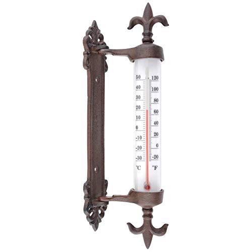 L'Héritier Du Temps Thermomètre Mural avec Potence Décoratif avec Motif Fleur de Lys en Celsius et Fahrenheit en Fonte Patinée Marron 5,5x9,5x27,5cm