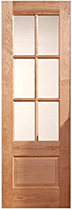 """Hemlock 6-Lite Clear Glass Square Top Solid Core Wood Stainable Interior Door Slab (28""""x 80"""", Finished)"""