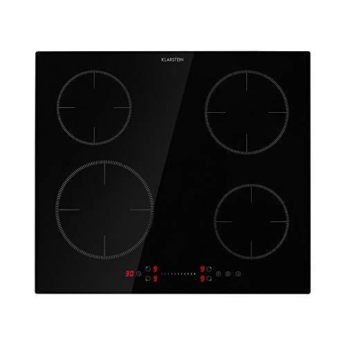 Klarstein Virtuosa EcoAdapt - Placa de inducción, 4 zonas, Potencia 7.200 W, 9 niveles, Temporizador, Función Boost, Control táctil, Encastrable, Apagado automático, Indicador calor residual, Negro