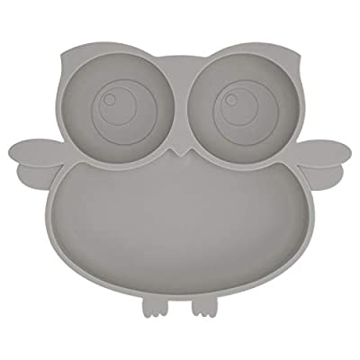 Kirecoo Owl Silicone Suction Plate - Self Feeding Training Storage Divided Plate, Baby Toddler Bowl and Dish, Fits for Most Hairchairs Trays, Microwave Dishwasher Safe (Gray) by DG-Kirecoo