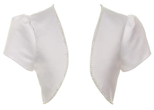 BluNight Collection Bridal Satin Rhinestones Jacket Shrug Big Girl Flower Girl Dress Communion Bolero (00TR3) White 16