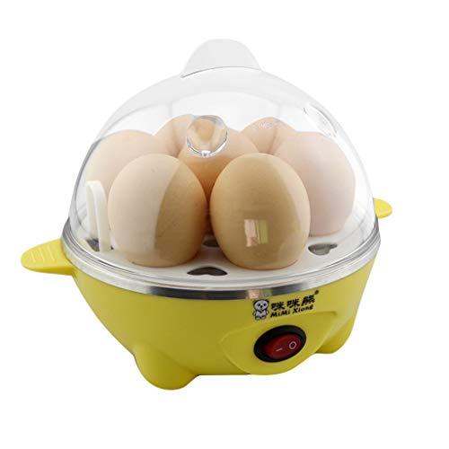 Eierkocher 7 Eier mit Automatische Abschaltung Eierkocher 350W, Wenn es kein Wasser gibt Automatische Auslösung, dieses Gerät mit Dampfgitter, Kann andere Lebensmittel dämpfen (Gelb)