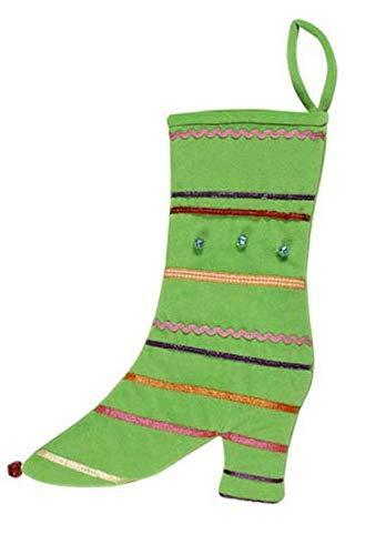 Calza Befana in Velluto Stile Stivaletto Bambina Donna - Colori Assortiti - 1598B (Verde)