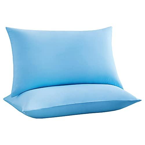Luxear kühlender Kissenbezug 2er Set, Kopfkissenbezug elastisch mit Arc-Chill Kühlfasern atmungsaktiv, seidige Kissenbezüge mit Reißverschluss weichdünn, Haare/Haut schonende Kissenhülle, 40x80cm-Blau