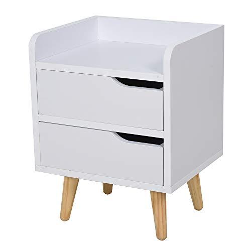 homcom Comodino Salvaspazio dal Design Moderno in Legno Bianco con 2 Cassetti e Piedini in Legno di Pino 33 x 28 x 42cm